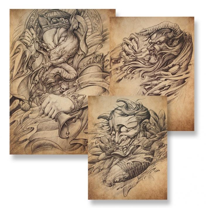 china tattoo art 36 85. Black Bedroom Furniture Sets. Home Design Ideas