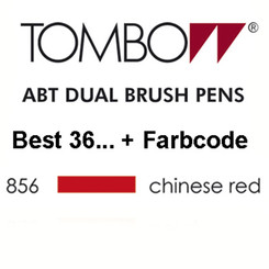 TOMBOW - ABT Dual Brush Pen - Dermatest - Chinese Red