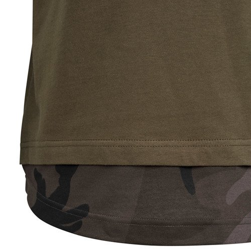 The Inked Army - Gents - Long Shaped Camo Inset Tee - Olive/Dark Camo